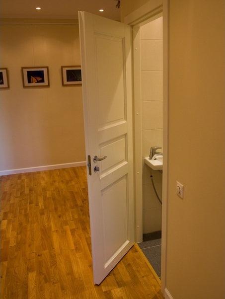Двери в санузел из шпона