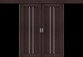 Фото -   Межкомнатная двойная дверь-купе Порта-24 Wenge Veralinga     фото в интерьере