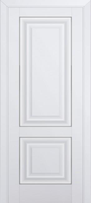 Фото -   Межкомнатная дверь 27U, молдинг серебро, аляска   | фото в интерьере