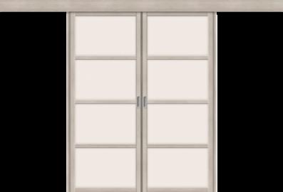 Фото -   Межкомнатная двойная дверь-купе Твигги V4 Cappuccino Veralinga   | фото в интерьере