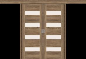 Фото -   Межкомнатная двойная дверь-купе Легно-23 Original Oak     фото в интерьере