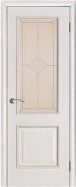 "Межкомнатная дверь ""Шервуд"", стекло ""Ромб"", белая патина"