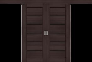 Фото -   Межкомнатная двойная дверь-купе Порта-22 BS Wenge Veralinga     фото в интерьере