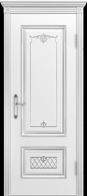 """Межкомнатная дверь """"Аккорд В3"""", пг, белый с патиной серебро"""