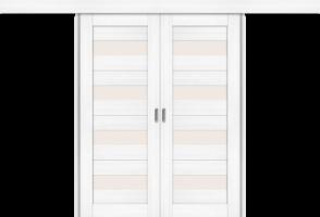 Фото -   Межкомнатная двойная дверь-купе Порта-23 Snow Veralinga     фото в интерьере