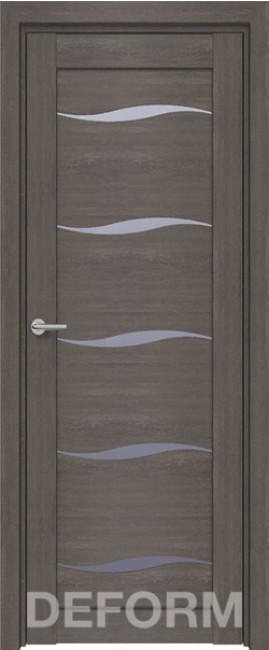 Фото -   Межкомнатная дверь Deform D1 дуб шале графит, стекло матовое   | фото в интерьере