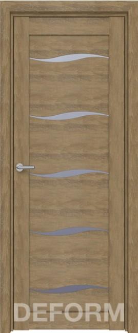 Фото -   Межкомнатная дверь Deform D1 дуб шале натуральный, стекло матовое   | фото в интерьере