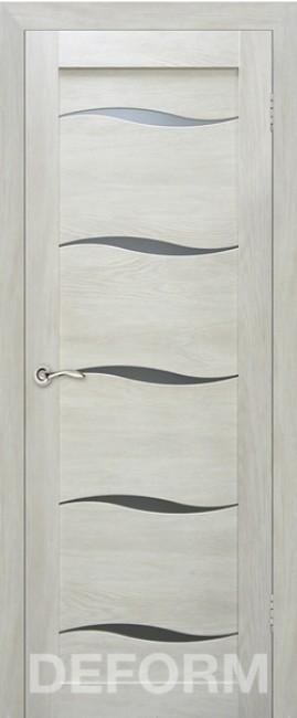 Фото -   Межкомнатная дверь Deform D1 дуб шале седой, стекло матовое   | фото в интерьере