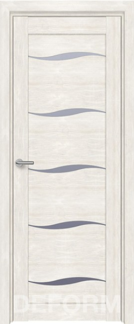 Фото -   Межкомнатная дверь Deform D1 дуб шале снежный, стекло матовое   | фото в интерьере