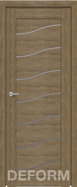 Фото -   Межкомнатная дверь Deform D2 дуб шале натуральный, стекло матовое     фото в интерьере