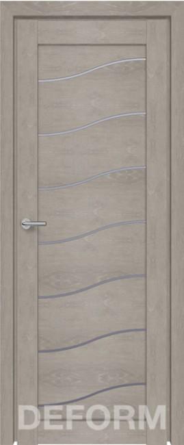 Фото -   Межкомнатная дверь Deform D2 дуб шале седой, стекло матовое     фото в интерьере