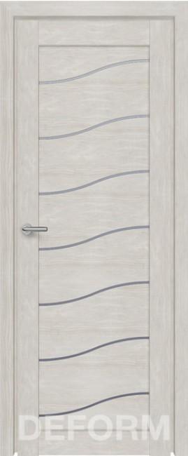 Фото -   Межкомнатная дверь Deform D2 дуб шале снежный, стекло матовое   | фото в интерьере
