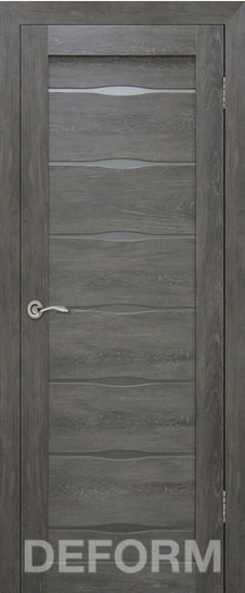 Фото -   Межкомнатная дверь Deform D3 дуб шале графит, стекло матовое   | фото в интерьере