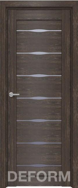 Фото -   Межкомнатная дверь Deform D3 дуб шале корица, стекло матовое   | фото в интерьере