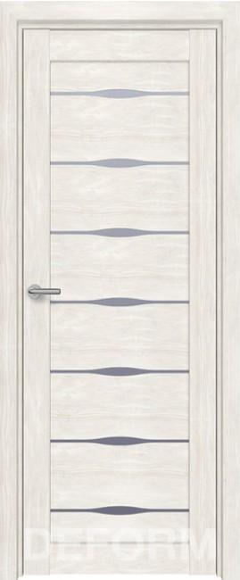 Фото -   Межкомнатная дверь Deform D3 дуб шале снежный, стекло матовое   | фото в интерьере