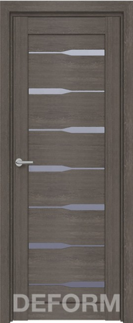 Фото -   Межкомнатная дверь Deform D4 дуб шале графит, стекло матовое   | фото в интерьере