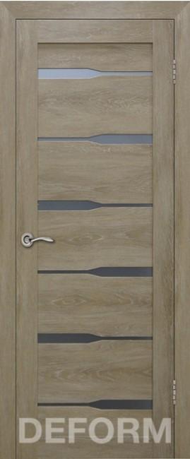 Фото -   Межкомнатная дверь Deform D4 дуб шале натуральный, стекло матовое   | фото в интерьере