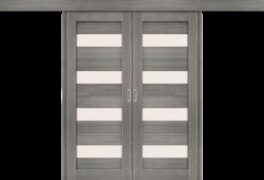 Фото -   Межкомнатная двойная дверь-купе Порта-23 Grey Veralinga     фото в интерьере