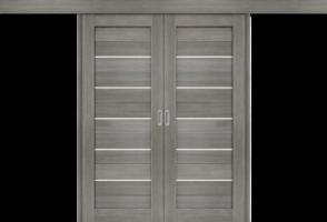 Фото -   Межкомнатная двойная дверь-купе Порта-22 Grey Veralinga     фото в интерьере