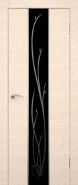 Фото -   Межкомнатная дверь Сити Гранд беленый дуб, стекло черное   | фото в интерьере