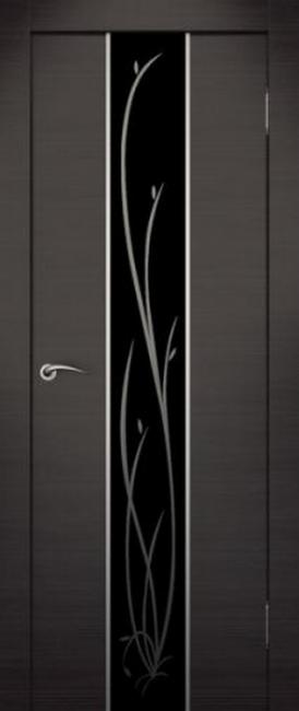 Фото -   Межкомнатная дверь Сити Гранд венге, стекло черное   | фото в интерьере
