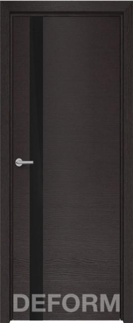 Фото -   Межкомнатная дверь Deform H2 дуб французский темный, стекло черное   | фото в интерьере