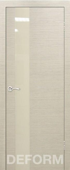 Фото -   Межкомнатная дверь Deform H3 дуб французский капучино, стекло перламутровое     фото в интерьере