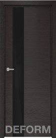 Фото -   Межкомнатная дверь Deform H3 дуб французский темный, стекло черное   | фото в интерьере