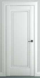Фото -   Межкомнатная дверь Неаполь В1, пг, матовый белый   | фото в интерьере