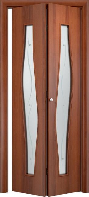 Фото -   Складная дверь С-10 (ф), итальянский орех     фото в интерьере