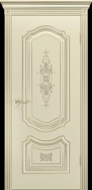"""Фото -   Межкомнатная дверь """"Соло R-0 В3"""", пг, шампань с патиной белое золото     фото в интерьере"""