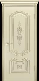 """Межкомнатная дверь """"Соло R-0 В3"""", пг, шампань с патиной белое золото"""