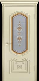 """Межкомнатная дверь """"Соло R-0 В3"""", по, шампань с патиной белое золото"""