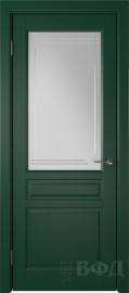 """Межкомнатная дверь """"Стокгольм"""", зеленый, стекло бел.сат. с гравир"""