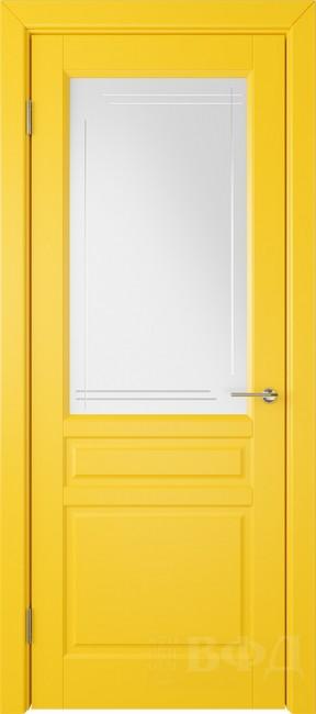 "Межкомнатная дверь ""Стокгольм"", желтый, стекло бел.сат. с гравир"