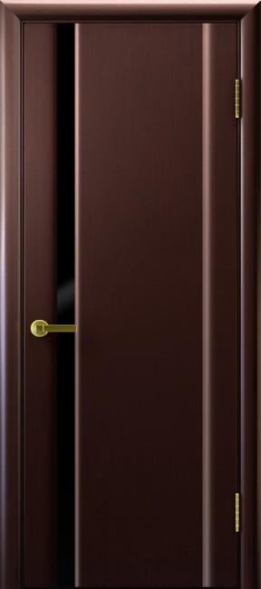 """Фото -   Межкомнатная дверь """"Синай 1"""", по, венге (стекло черное)     фото в интерьере"""